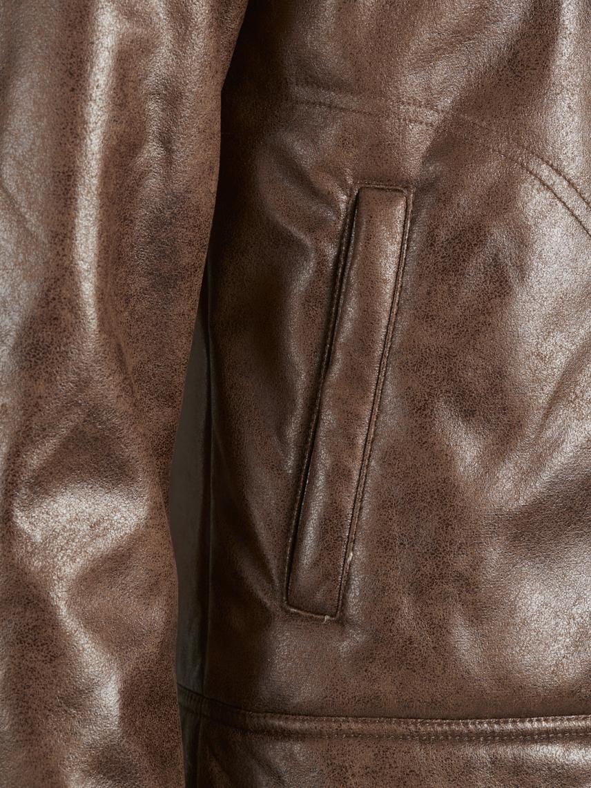İçi Kürklü Deri Görünümlü Ceket