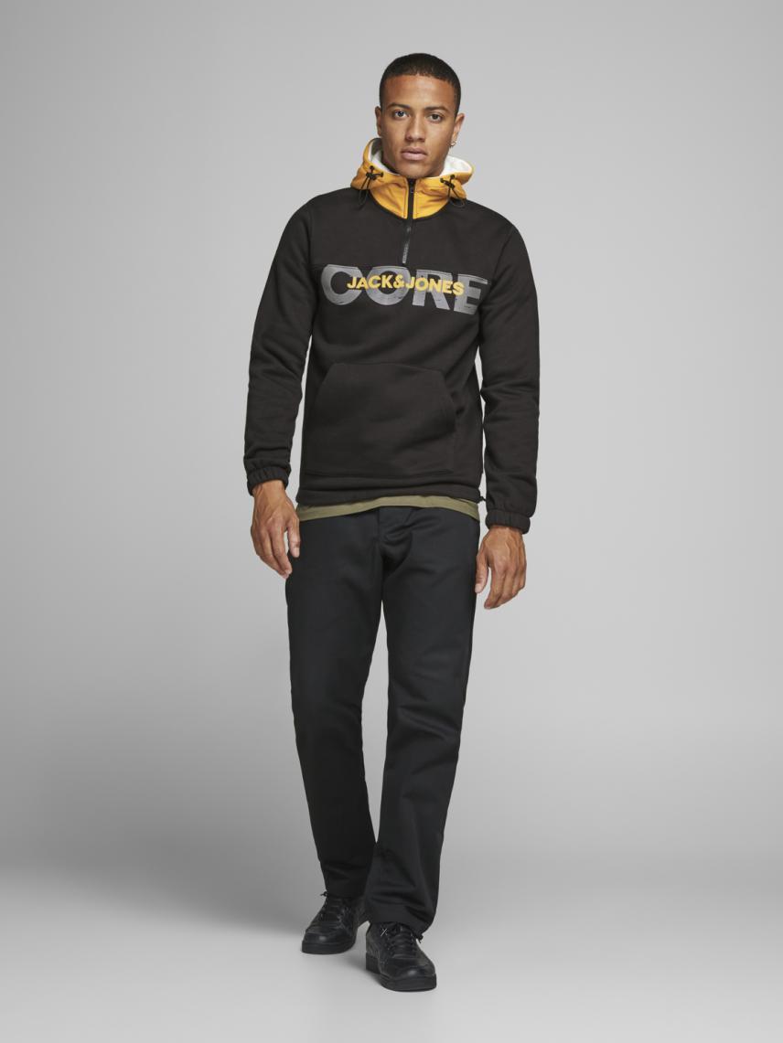 Yarım Fermuarlı Kapüşonlu Sweatshirt