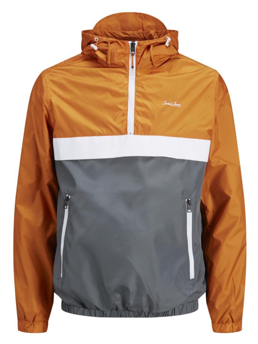 Kapüşonlu Blok Renk Detaylı Ceket