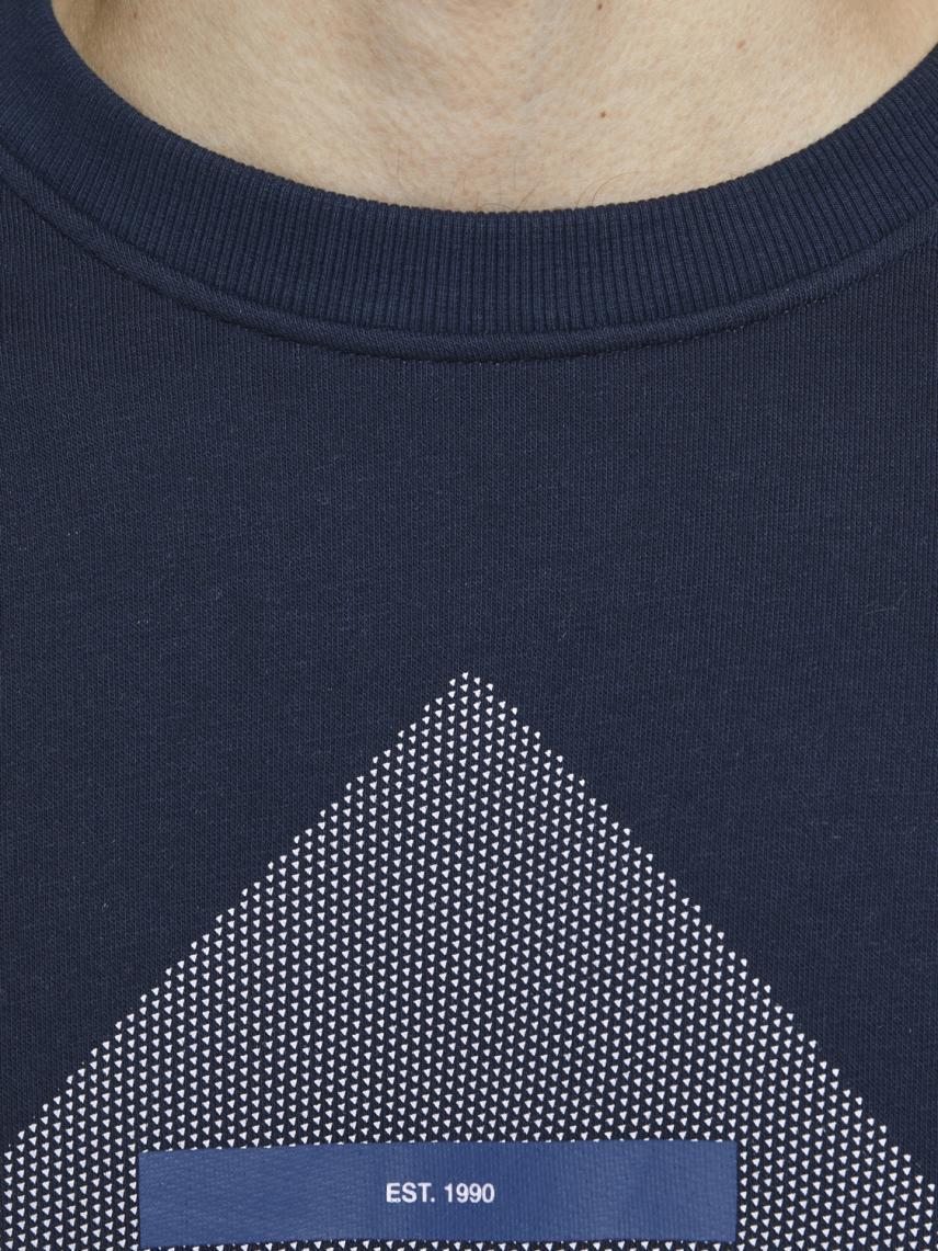 Bisiklet Yaka Logo Baskılı Sweatshirt
