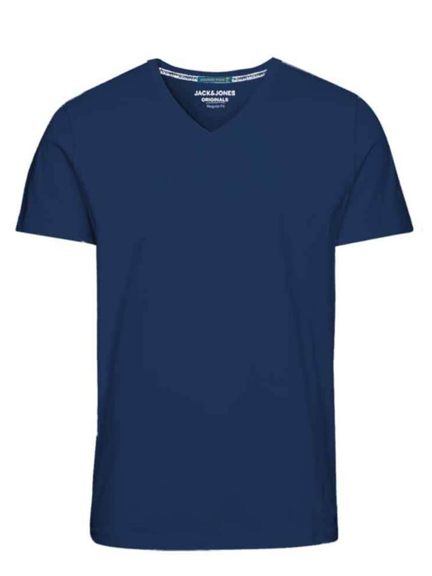 V Yaka Düz Renk Tişört